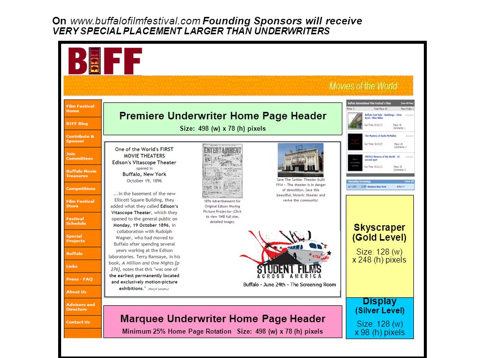 On www.buffalofilmfestival.com Founding Sponsors will receive VERY SPECIAL PLACEMENT LARGER THAN UNDERWRITERS Premiere Underwriter Home Page Header Size: 498 (w) x 78 (h) pixels Display (Silver Level) Size: 128 (w) x 98 (h) pixels Skyscraper (Gold Level) Size: 128 (w) x 248 (h) pixels Marquee Underwriter Home Page Header Minimum 25% Home Page Rotation Size: 498 (w) x 78 (h) pixels