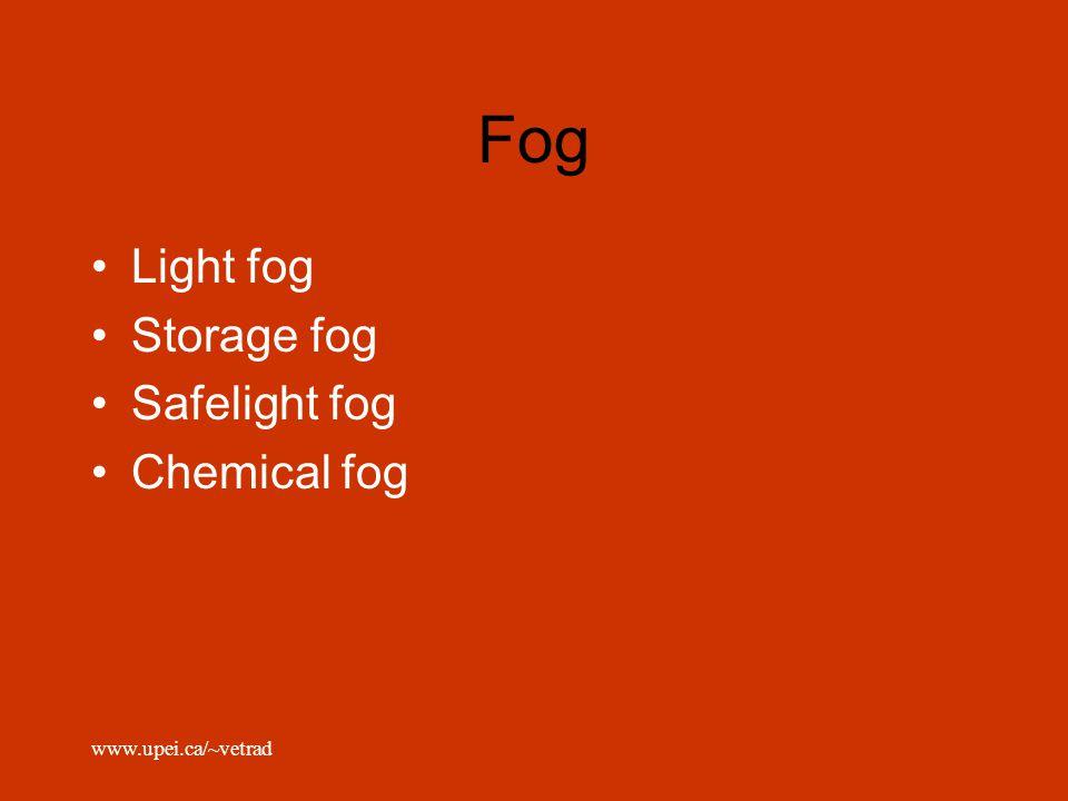 www.upei.ca/~vetrad Fog Light fog Storage fog Safelight fog Chemical fog