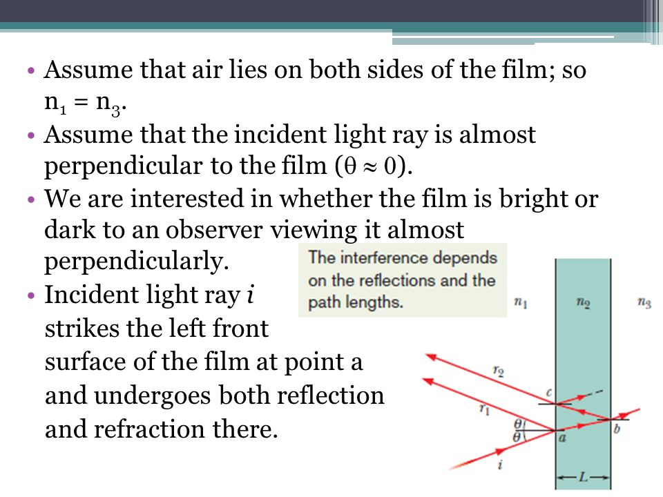 Assume that air lies on both sides of the film; so n 1 = n 3. Assume that the incident light ray is almost perpendicular to the film ( ). We are inter