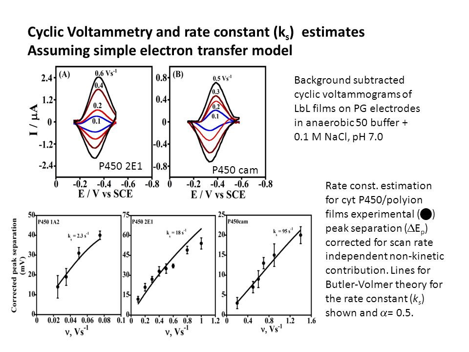 Cyclic Voltammetry and rate constant (k s ) estimates Assuming simple electron transfer model P450 2E1 P450 cam Background subtracted cyclic voltammog
