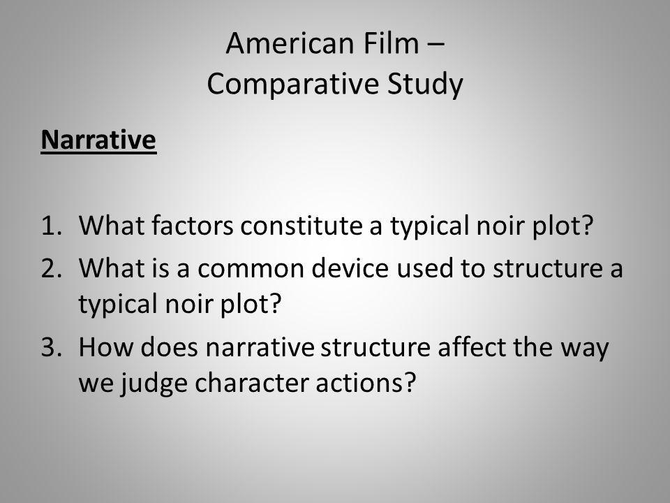 Narrative 1.What factors constitute a typical noir plot? 2.What is a common device used to structure a typical noir plot? 3.How does narrative structu