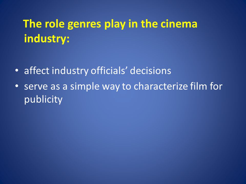 Analyzing a Genre There are specific conventions serving as pathway into the film for the viewer: certain plot elements theme or general meanings characteristic film techniques characteristic objects and settings (iconography) iconographic star Conventions can be also reinvent or reject