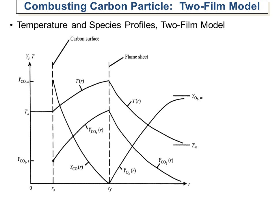 Combusting Carbon Particle: Two-Film Model Temperature and Species Profiles, Two-Film Model