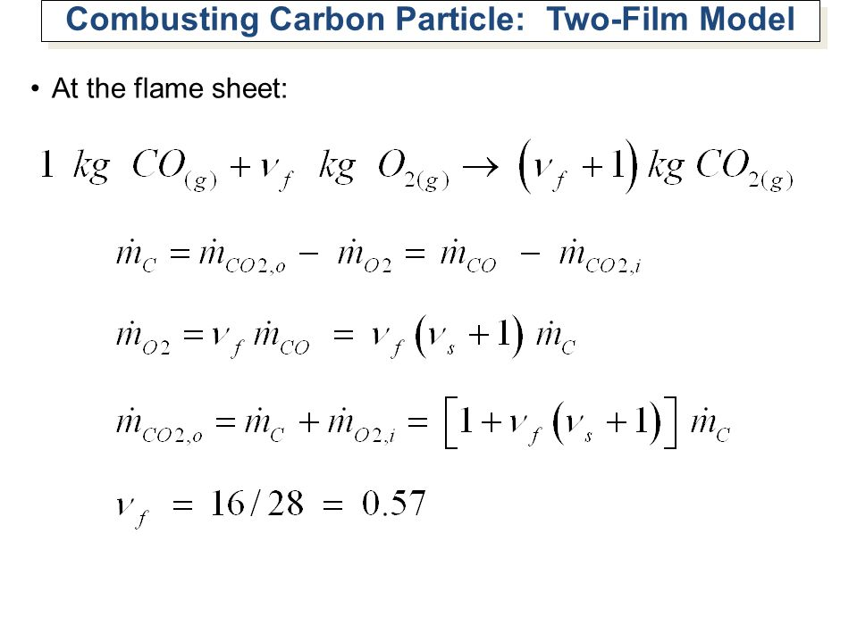 Combusting Carbon Particle: Two-Film Model At the flame sheet: