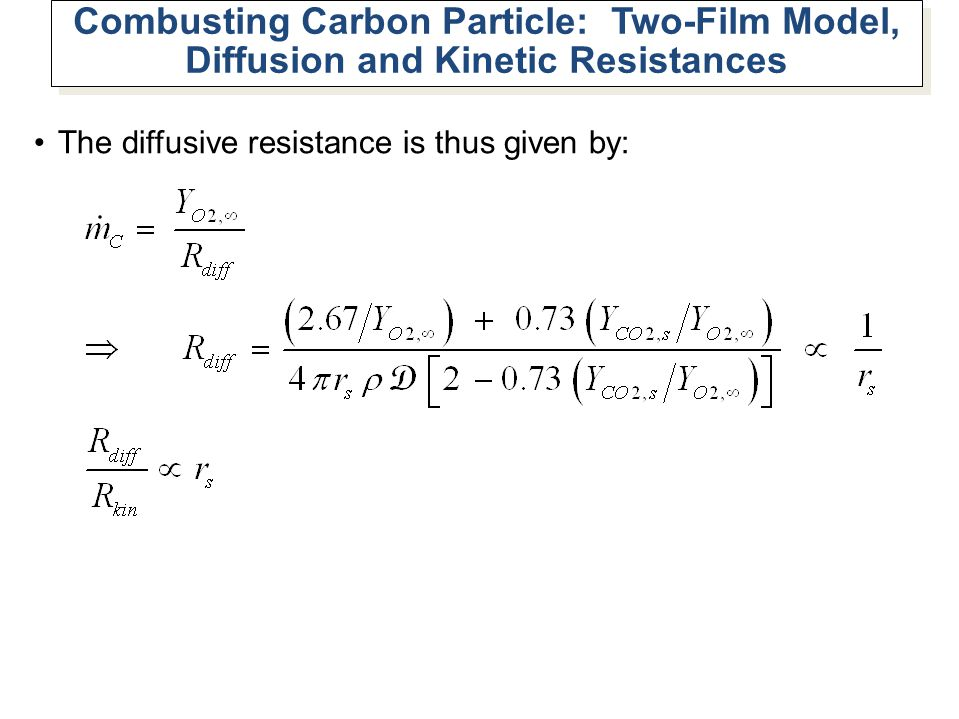 Combusting Carbon Particle: Two-Film Model, Diffusion and Kinetic Resistances The diffusive resistance is thus given by: