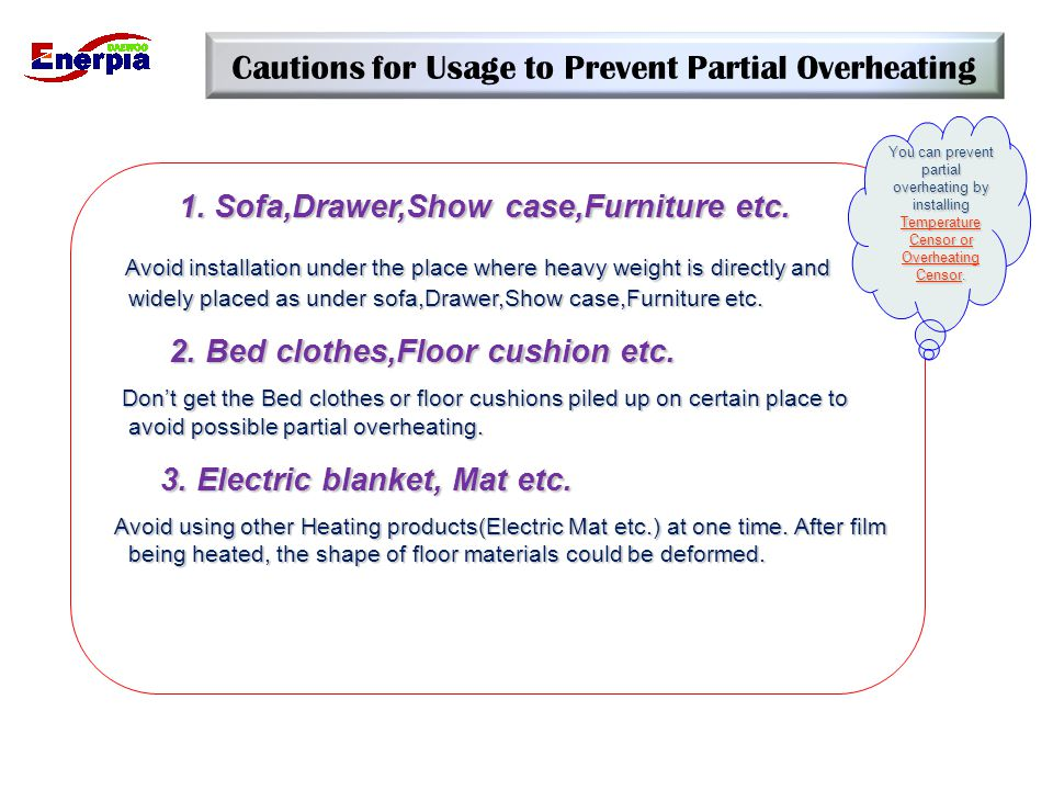 Cautions for Usage to Prevent Partial Overheating 1. Sofa,Drawer,Show case,Furniture etc. 1. Sofa,Drawer,Show case,Furniture etc. Avoid installation u