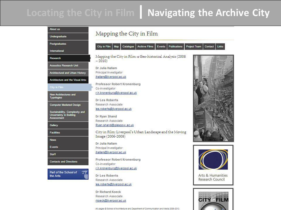 Locating the City in Film | Navigating the Archive City