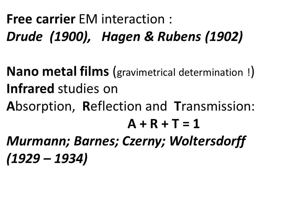 Free carrier EM interaction : Drude (1900), Hagen & Rubens (1902) Nano metal films ( gravimetrical determination ! ) Infrared studies on Absorption, R