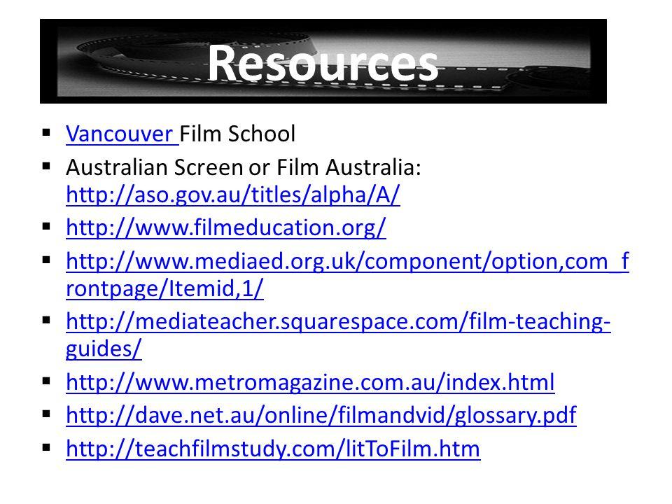 Resources Vancouver Film School Vancouver Australian Screen or Film Australia: http://aso.gov.au/titles/alpha/A/ http://aso.gov.au/titles/alpha/A/ htt
