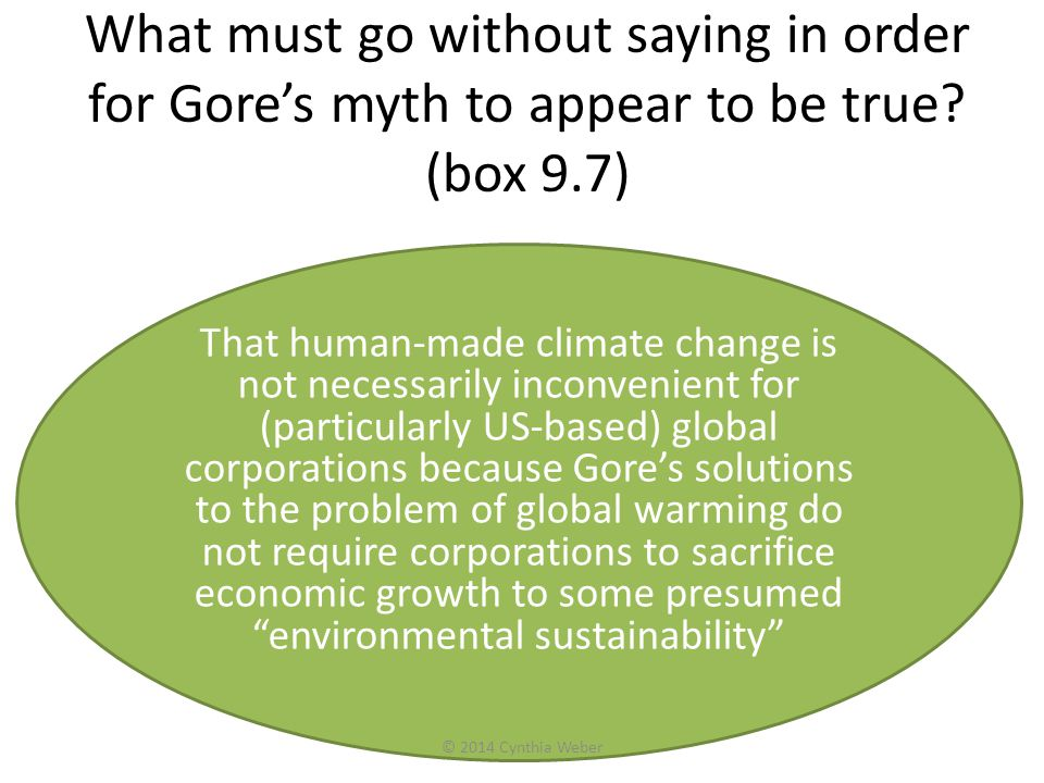 What must go without saying in order for Gores myth to appear to be true? (box 9.7) That human-made climate change is not necessarily inconvenient for