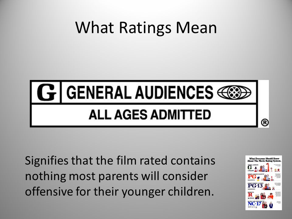 What Ratings Mean Signifies that the film rated contains nothing most parents will consider offensive for their younger children.