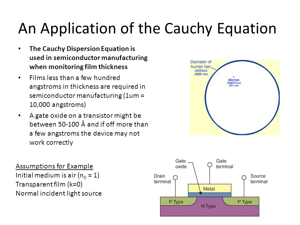An Application of the Cauchy Equation The Cauchy Dispersion Equation is used in semiconductor manufacturing when monitoring film thickness Films less than a few hundred angstroms in thickness are required in semiconductor manufacturing (1um = 10,000 angstroms) A gate oxide on a transistor might be between 50-100 Å and if off more than a few angstroms the device may not work correctly Assumptions for Example Initial medium is air (n 0 = 1) Transparent film (k=0) Normal incident light source