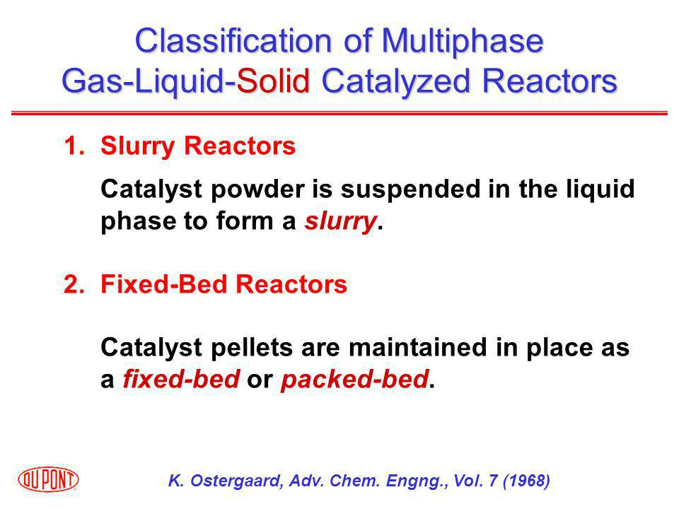 Classification of Multiphase Gas-Liquid-Solid Catalyzed Reactors 1.