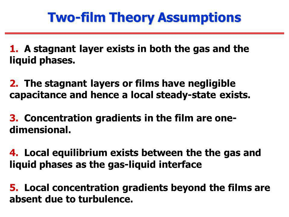 Two-film Theory Assumptions 1.A stagnant layer exists in both the gas and the liquid phases.