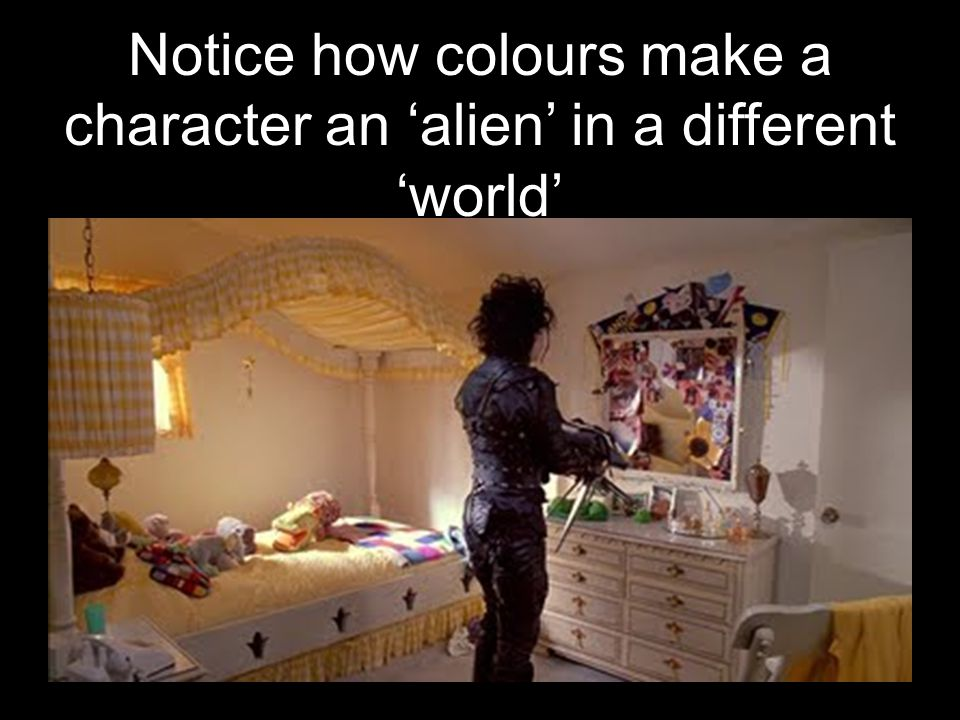 Notice how colours make a character an alien in a different world