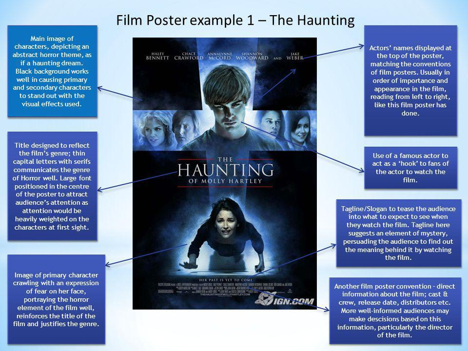 Film Poster example 1 – The Haunting Main image of characters, depicting an abstract horror theme, as if a haunting dream. Black background works well