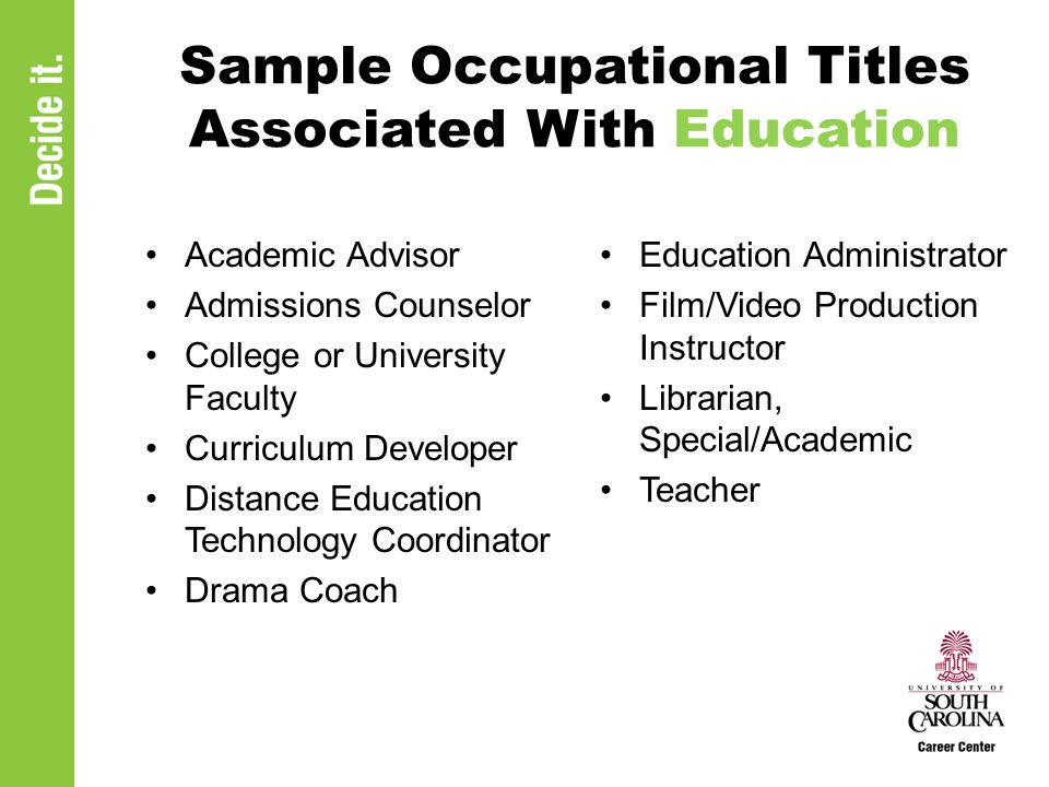 Sample Occupational Titles Associated With Education Academic Advisor Admissions Counselor College or University Faculty Curriculum Developer Distance Education Technology Coordinator Drama Coach Education Administrator Film/Video Production Instructor Librarian, Special/Academic Teacher