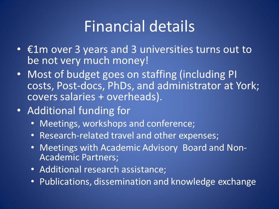 Financial details 1m over 3 years and 3 universities turns out to be not very much money.
