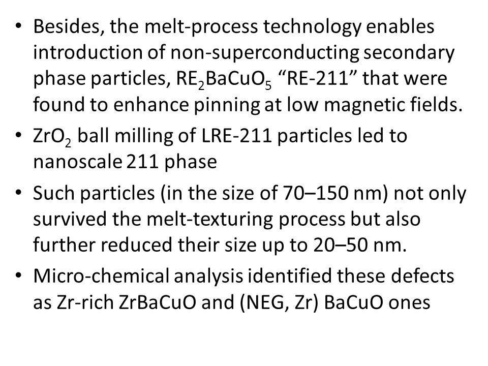 Besides, the melt-process technology enables introduction of non-superconducting secondary phase particles, RE 2 BaCuO 5 RE-211 that were found to enh