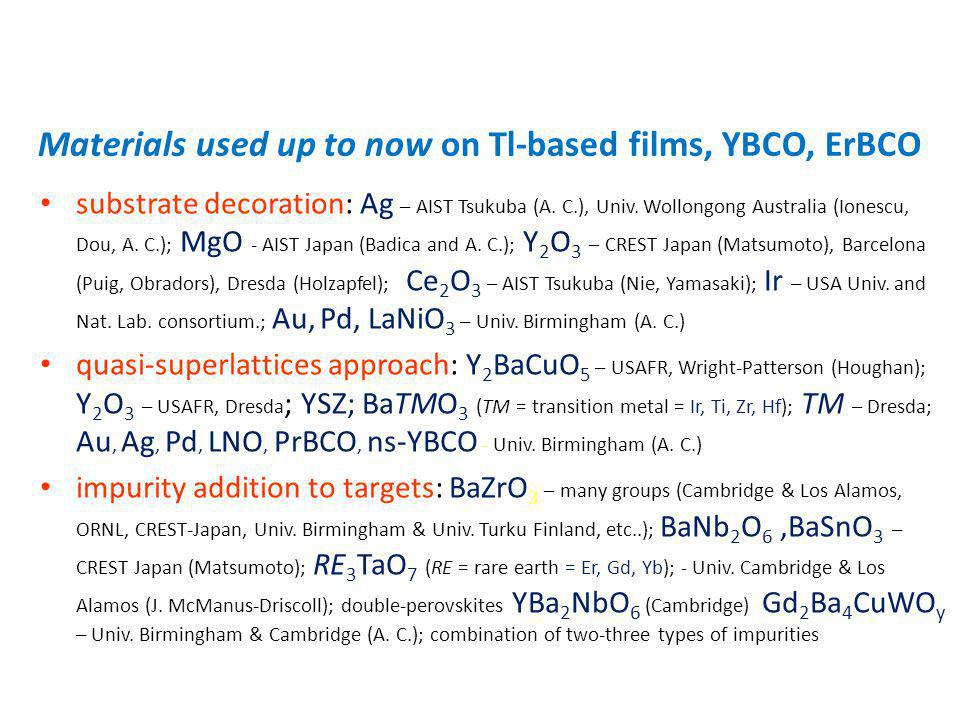 Materials used up to now on Tl-based films, YBCO, ErBCO substrate decoration: Ag – AIST Tsukuba (A. C.), Univ. Wollongong Australia (Ionescu, Dou, A.