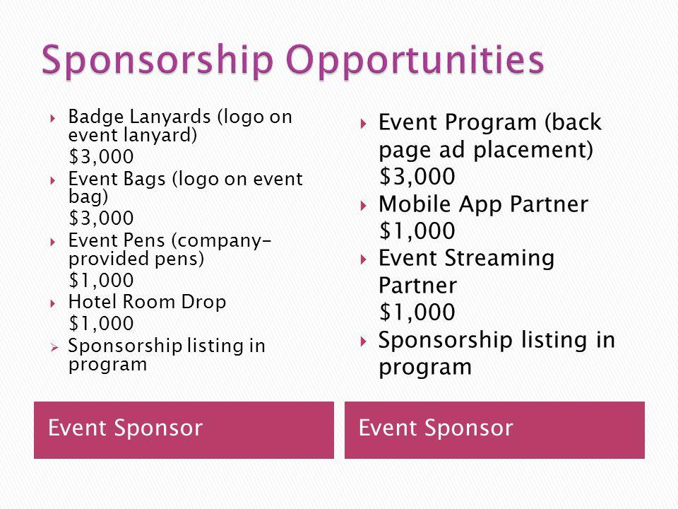 Event Sponsor Badge Lanyards (logo on event lanyard) $3,000 Event Bags (logo on event bag) $3,000 Event Pens (company- provided pens) $1,000 Hotel Room Drop $1,000 Sponsorship listing in program Event Program (back page ad placement) $3,000 Mobile App Partner $1,000 Event Streaming Partner $1,000 Sponsorship listing in program