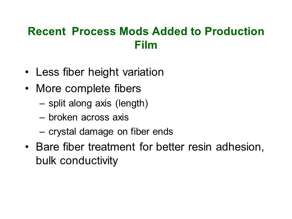 Recent Process Mods Added to Production Film Less fiber height variation More complete fibers –split along axis (length) –broken across axis –crystal damage on fiber ends Bare fiber treatment for better resin adhesion, bulk conductivity