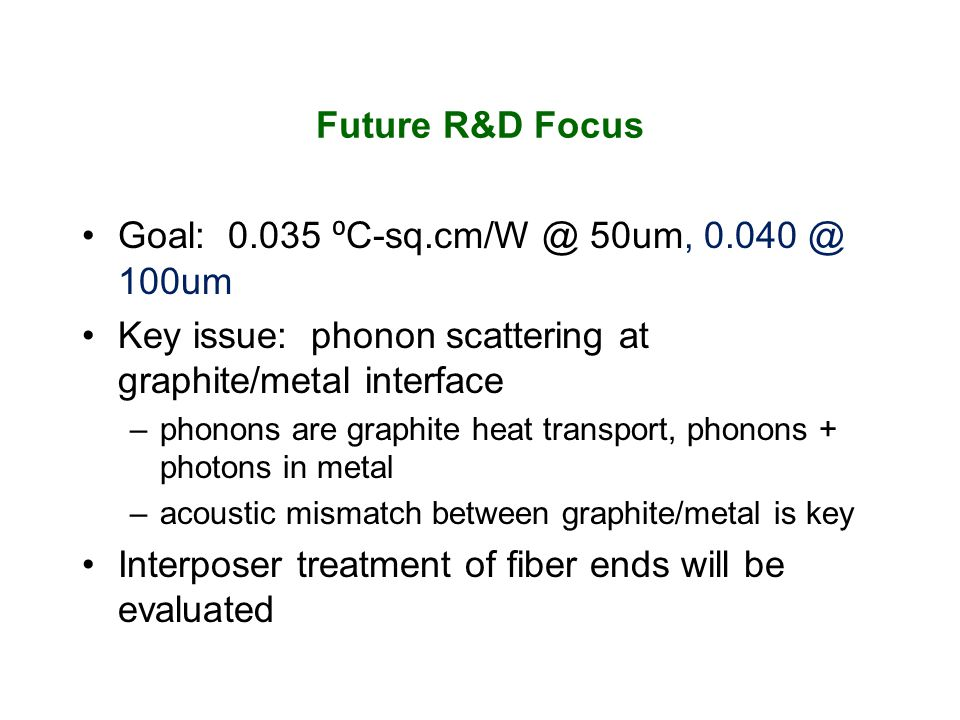 Future R&D Focus Goal: 0.035 C-sq.cm/W @ 50um, 0.040 @ 100um Key issue: phonon scattering at graphite/metal interface –phonons are graphite heat transport, phonons + photons in metal –acoustic mismatch between graphite/metal is key Interposer treatment of fiber ends will be evaluated