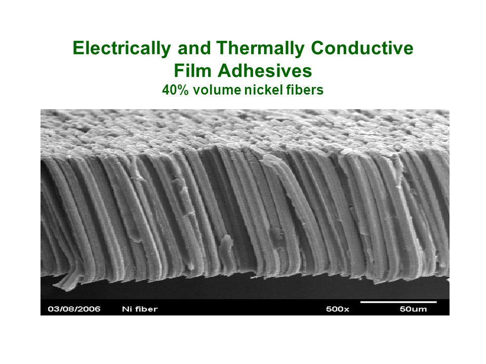Electrically and Thermally Conductive Film Adhesives 40% volume nickel fibers