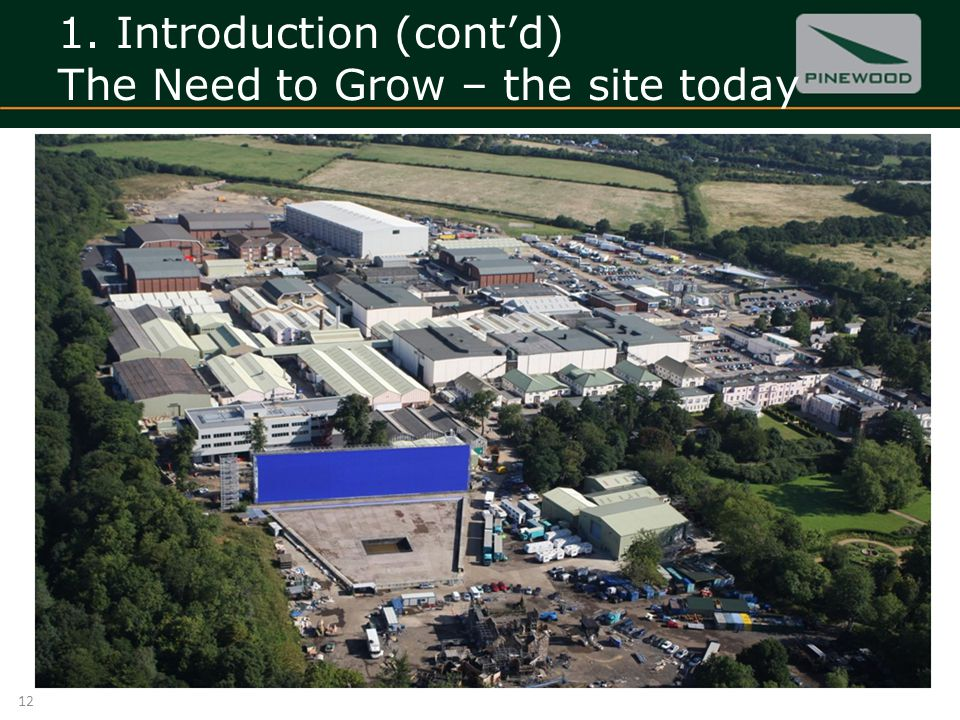 1. Introduction (contd) The Need to Grow – the site today 12