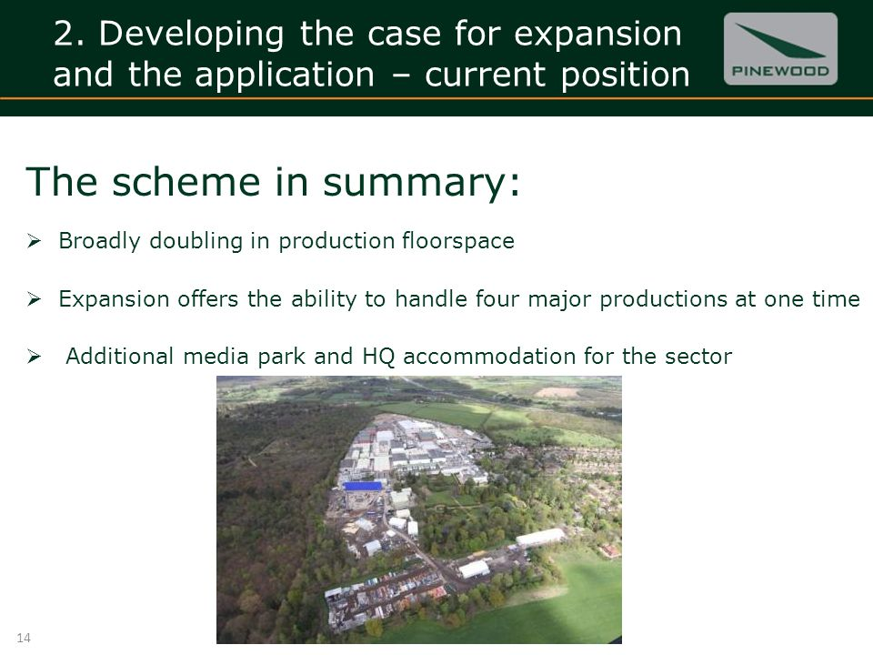 2. Developing the case for expansion and the application – current position 14 The scheme in summary: Broadly doubling in production floorspace Expans
