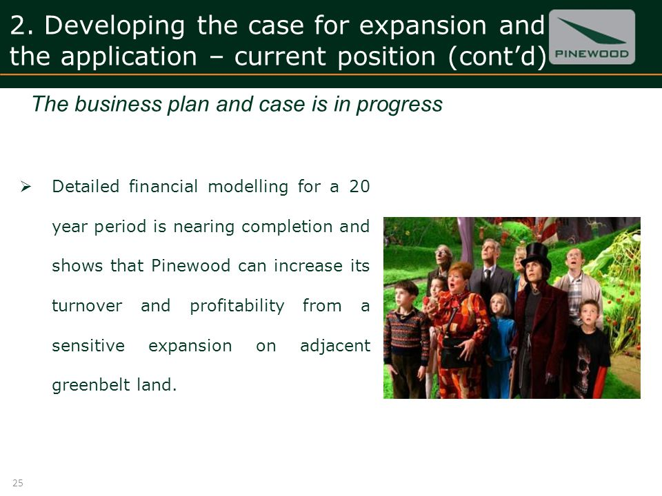 2. Developing the case for expansion and the application – current position (contd) Detailed financial modelling for a 20 year period is nearing compl