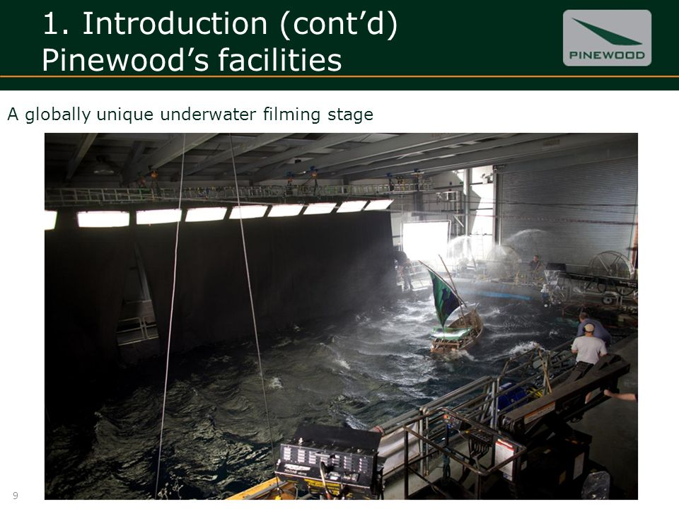 1. Introduction (contd) Pinewoods facilities 9 A globally unique underwater filming stage
