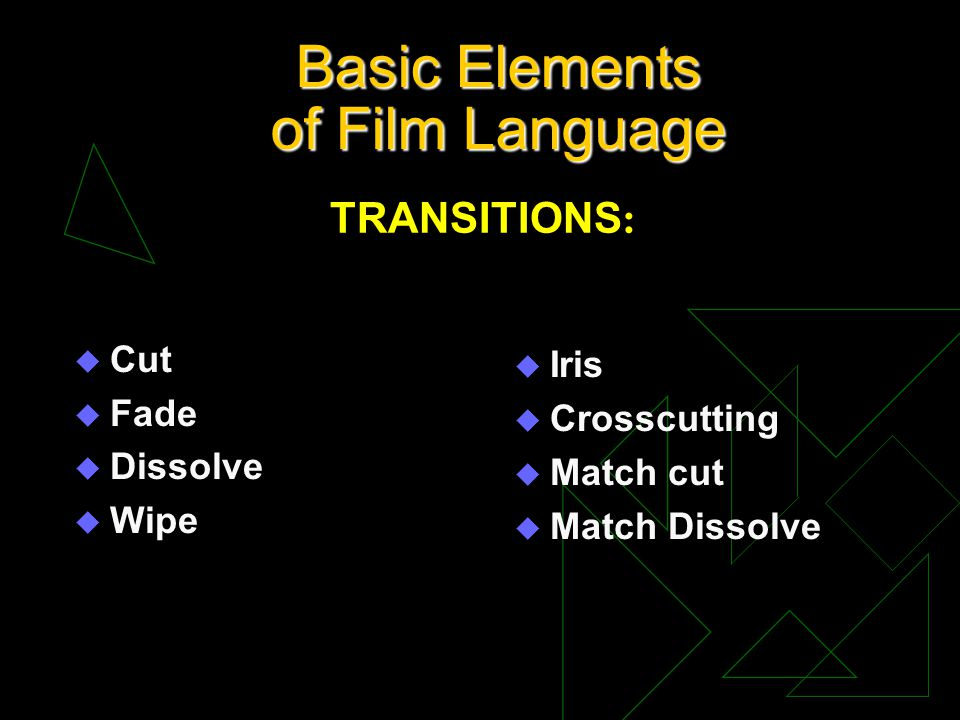 Basic Elements of Film Language u Cut u Fade u Dissolve u Wipe u Iris u Crosscutting u Match cut u Match Dissolve TRANSITIONS :