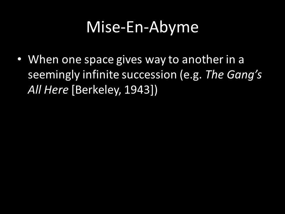 Mise-En-Abyme When one space gives way to another in a seemingly infinite succession (e.g.