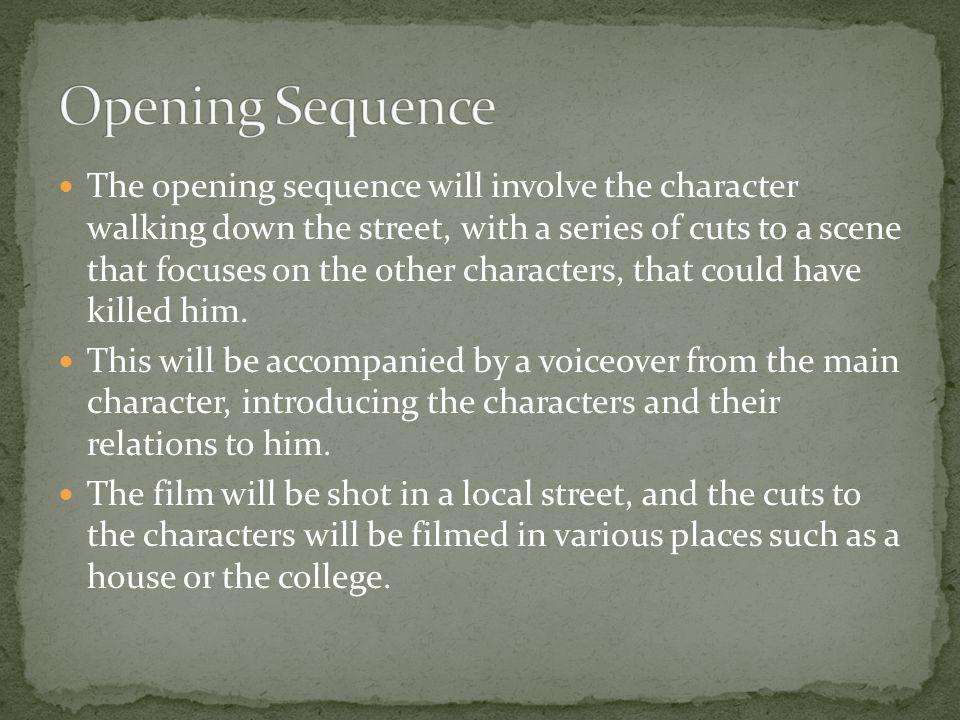 The opening sequence will involve the character walking down the street, with a series of cuts to a scene that focuses on the other characters, that c
