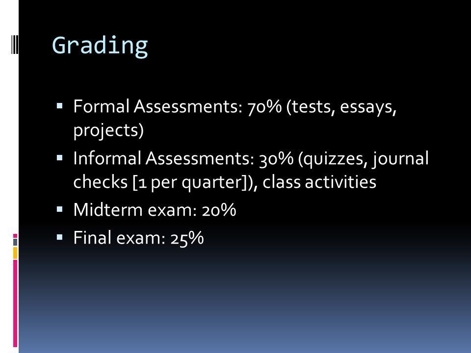 Grading Formal Assessments: 70% (tests, essays, projects) Informal Assessments: 30% (quizzes, journal checks [1 per quarter]), class activities Midter