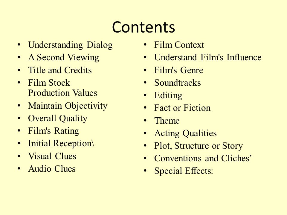 Contents Understanding Dialog A Second Viewing Title and Credits Film Stock Production Values Maintain Objectivity Overall Quality Film's Rating Initi