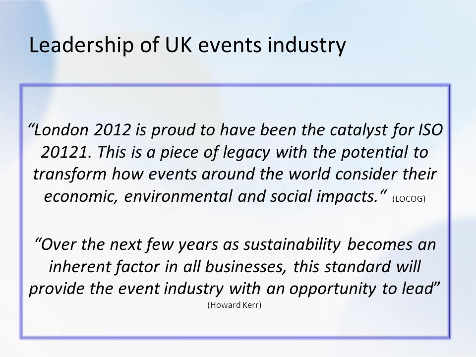London 2012 is proud to have been the catalyst for ISO 20121.