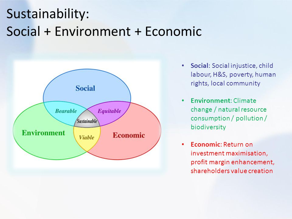 Sustainability: Social + Environment + Economic Social: Social injustice, child labour, H&S, poverty, human rights, local community Environment: Climate change / natural resource consumption / pollution / biodiversity Economic: Return on investment maximisation, profit margin enhancement, shareholders value creation
