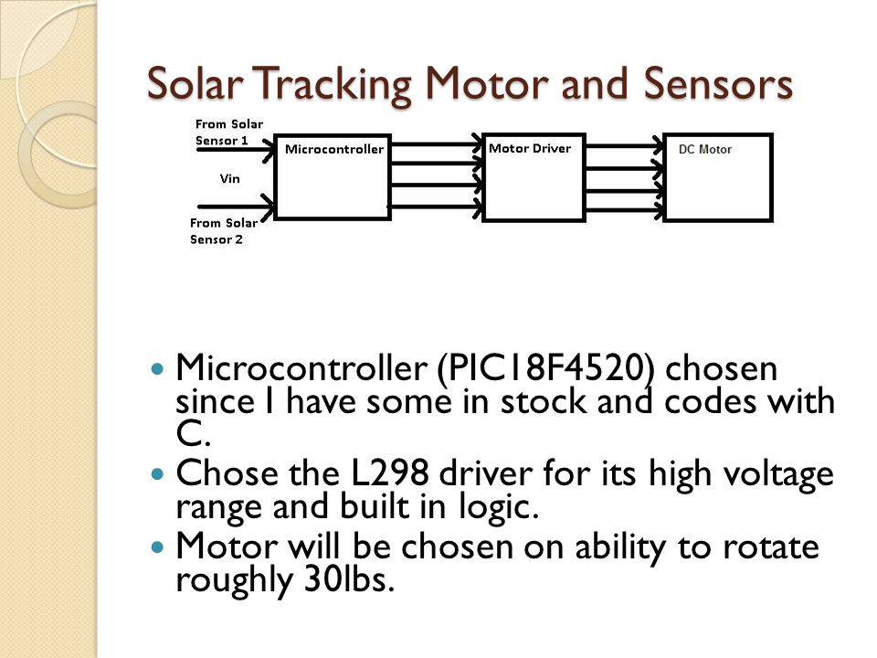 Solar Tracking Motor and Sensors Microcontroller (PIC18F4520) chosen since I have some in stock and codes with C. Chose the L298 driver for its high v