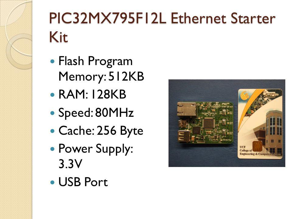 PIC32MX795F12L Ethernet Starter Kit Flash Program Memory: 512KB RAM: 128KB Speed: 80MHz Cache: 256 Byte Power Supply: 3.3V USB Port