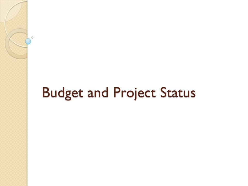 Budget and Project Status