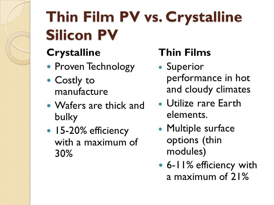 Thin Film PV vs.