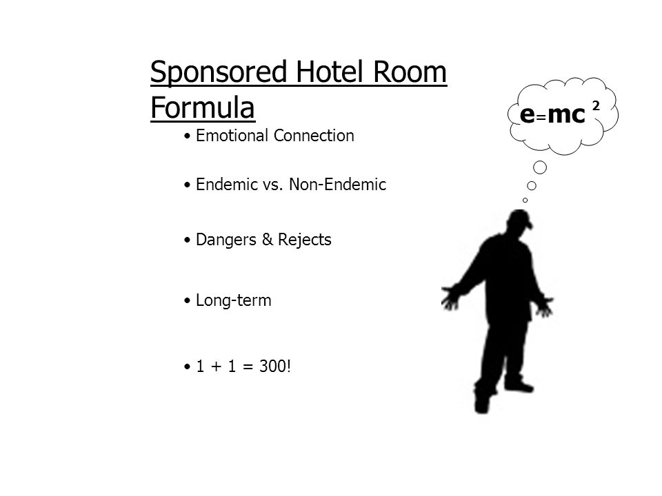 Sponsored Hotel Room Formula Emotional Connection e = mc 2 1 + 1 = 300.