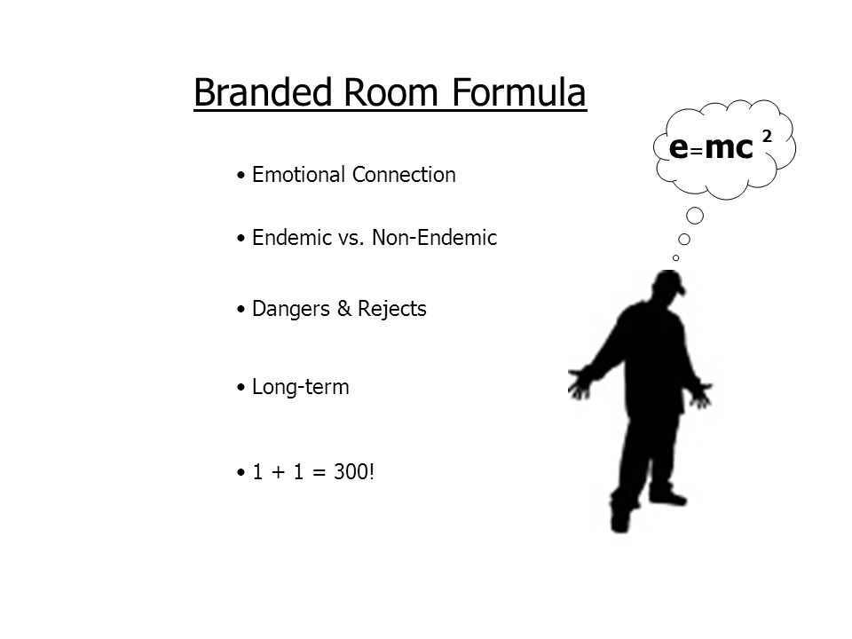 Branded Room Formula Emotional Connection e = mc 2 1 + 1 = 300.