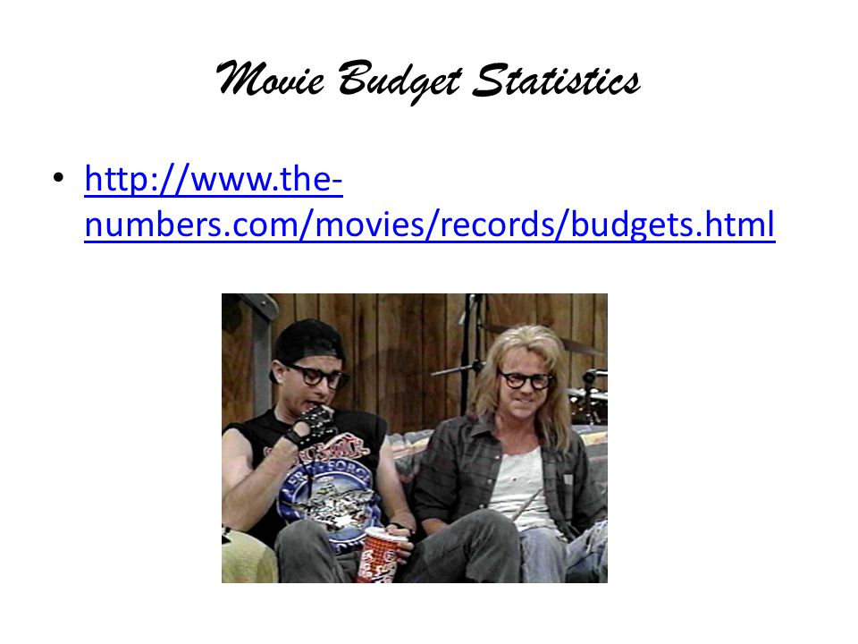 Movie Budget Statistics http://www.the- numbers.com/movies/records/budgets.html http://www.the- numbers.com/movies/records/budgets.html