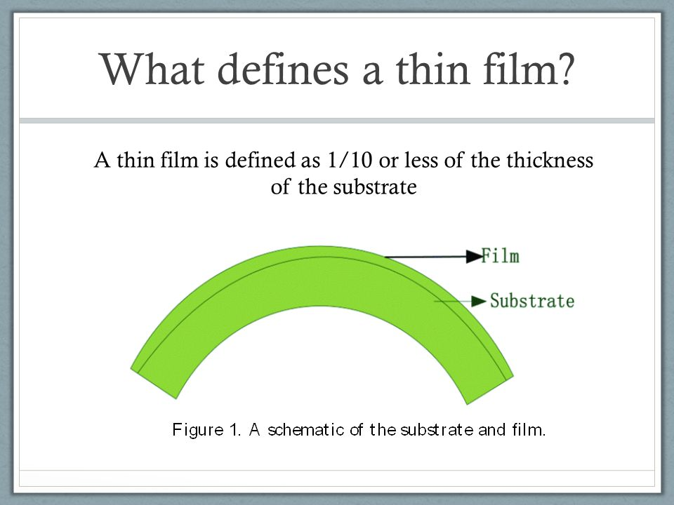 What defines a thin film? A thin film is defined as 1/10 or less of the thickness of the substrate