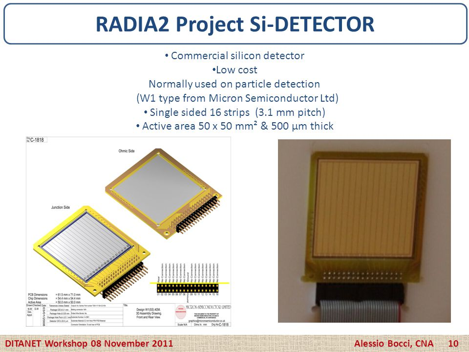 Commercial silicon detector Low cost Normally used on particle detection (W1 type from Micron Semiconductor Ltd) Single sided 16 strips (3.1 mm pitch)
