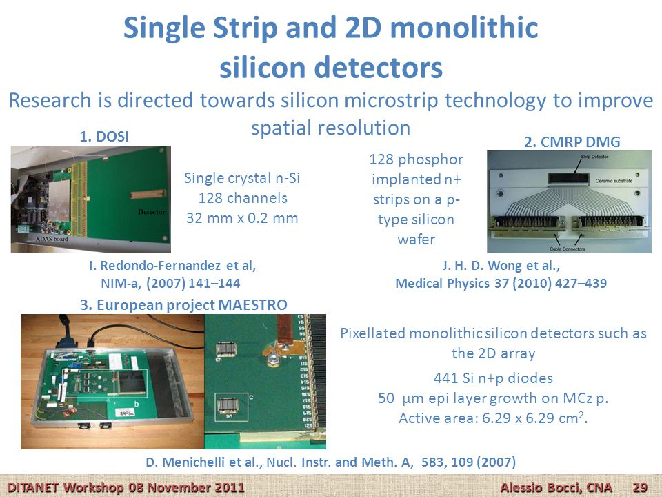 Single Strip and 2D monolithic silicon detectors Research is directed towards silicon microstrip technology to improve spatial resolution Pixellated m