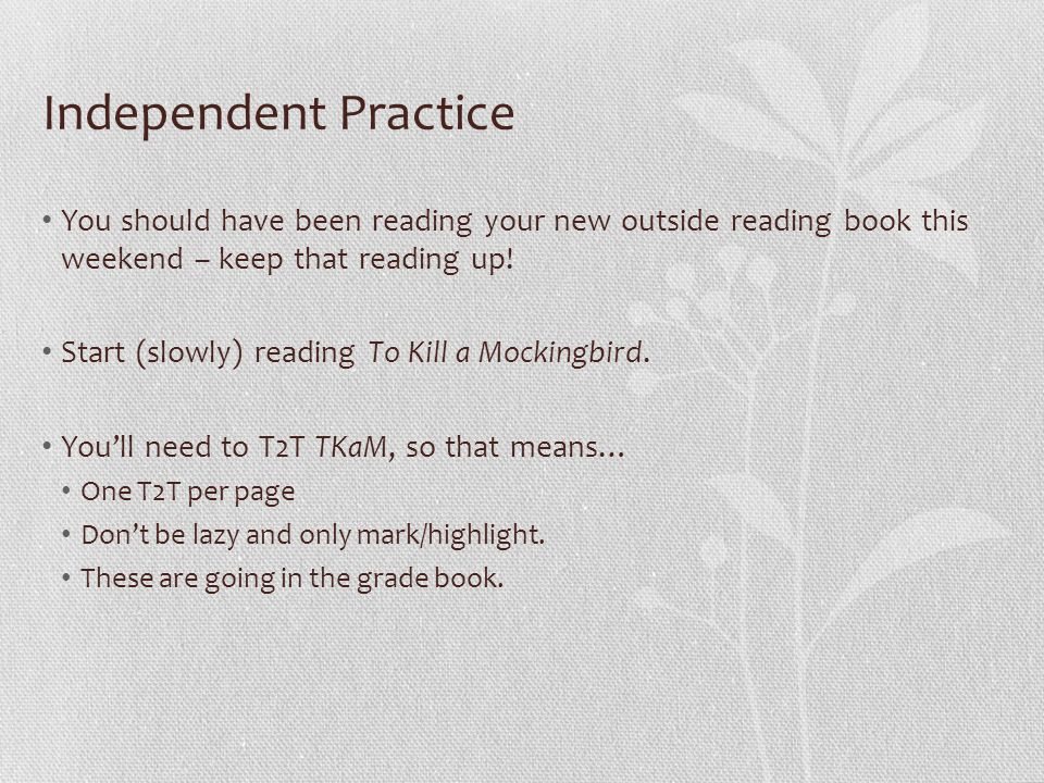 Independent Practice You should have been reading your new outside reading book this weekend – keep that reading up! Start (slowly) reading To Kill a